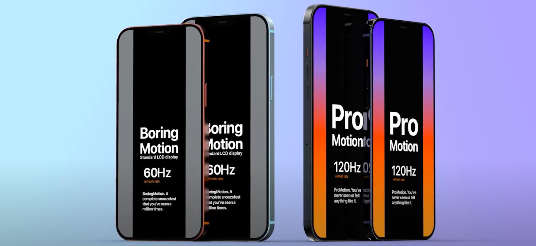 Etxebizitza berria eta 5G ez dira produktu berri bakarrak.  iPhone 12 ProMotion pantaila 120 Hz-era freskatu bat lortzeko da