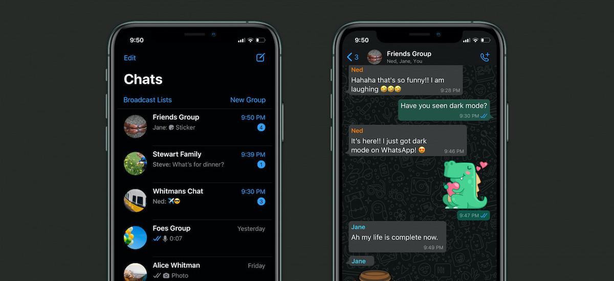 Facebookeko beste aplikazio batek Dark Mode onartzen du.  WhatsApp eguneratu da