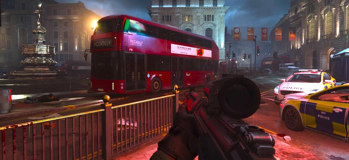 Duty Call of One: Modern Warfare misioek hunkitu ninduten.  Piccadillyk Mendebaldeko hirien babesgabetasuna erakusten du