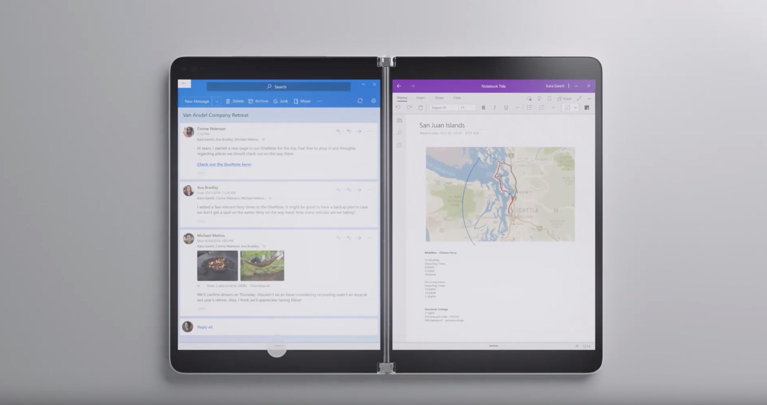 Microsoft-ek Surface Neo aurkezten du.  Bi pantaila eta Windows 10X, datorren urtean dendetan