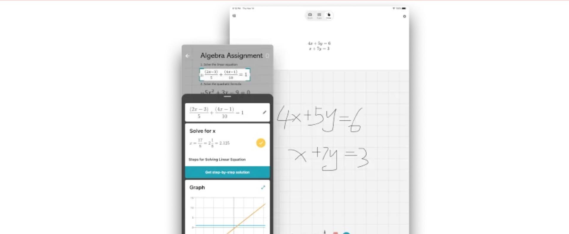 Aplikazio hauek matematiketan lagunduko dute.  Apuntatu kamera ekuaziora irtenbidea ikusteko