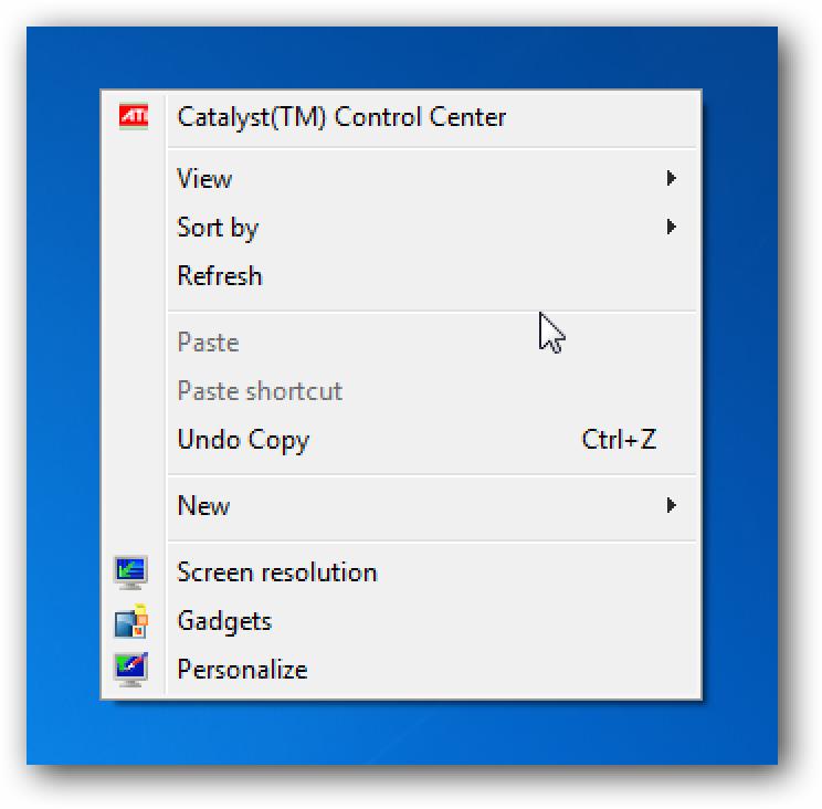 Ezabatu gadgetak eta Pantailaren bereizmena Windows 7  Mahaigaineko testuinguruaren menua