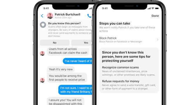Facebook Mezularia iruzurrezko mezuen alertak erakusteko