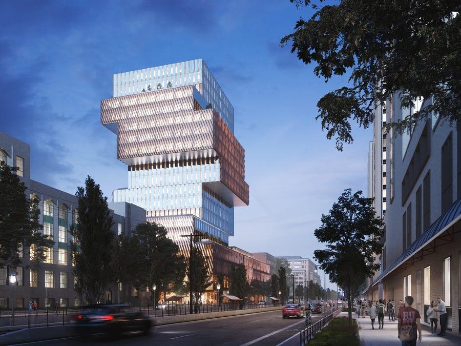 Jenga ekologikoa, hau da, campuseko bertikala Boston Unibertsitatean 2022an