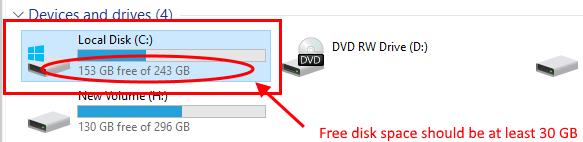 Konpondu biltegiratze leku nahikoa sistema eragile batean kudeatzeko Windows 10