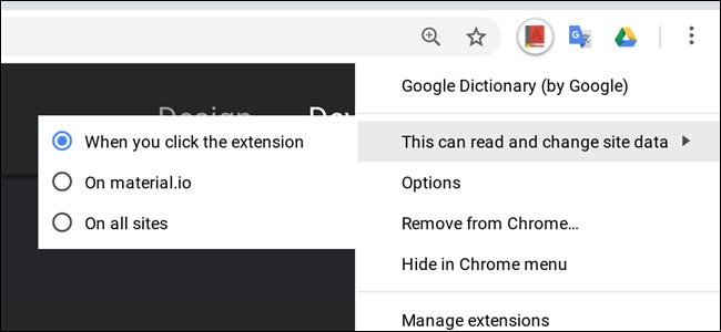 Laster edukiko duzu Chrome-aren luzapen baimenak kontrolatzeko granularrak 1