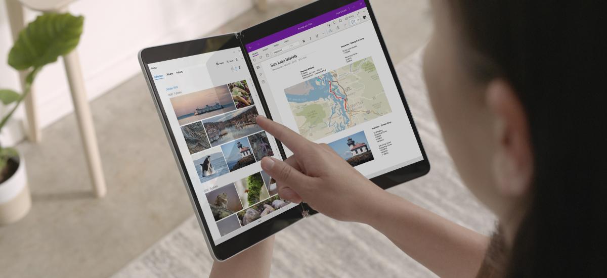 Microsoft Surface Neo bi pantailarekin.  Pixka bat wow, pixka bat hmm, pff apur bat