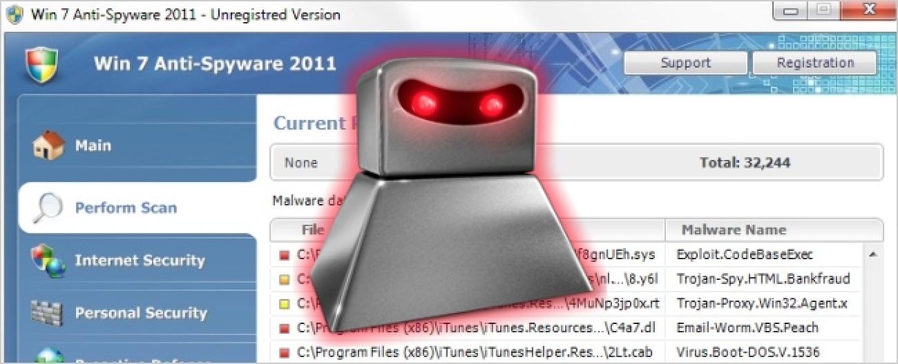 Nola Kendu Win 7 Anti-Spyware 2011 (Birusen aurkako Anti-Infekzio faltsuak)
