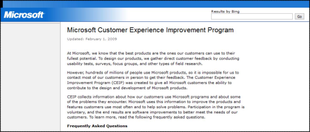 Nola aukeratu Microsoft Office Bezeroaren Esperientzia hobetzeko programa