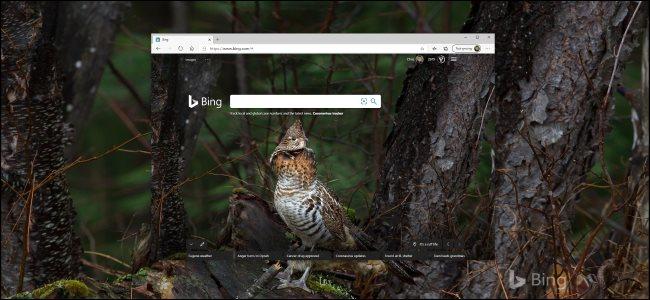 Bing-en eguneroko arakatzailea nabigatzailean eta ... Windows 10 mahaigain.
