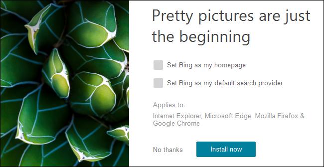 Bing Wallpaper instalatzailea aktibatuta dago Windows 10.