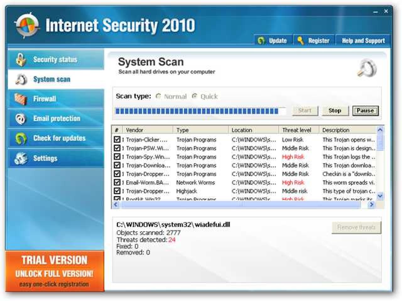 Nola kendu Internet Security 2010 eta beste Rogue / Fake Antivirus Malware