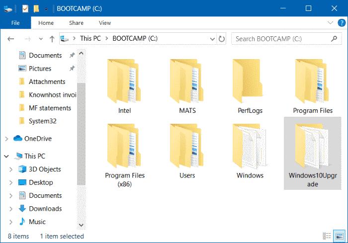 Nola segurtasunez ezabatu Windows10Upgrade eguneratzearen karpeta batean Windows 10