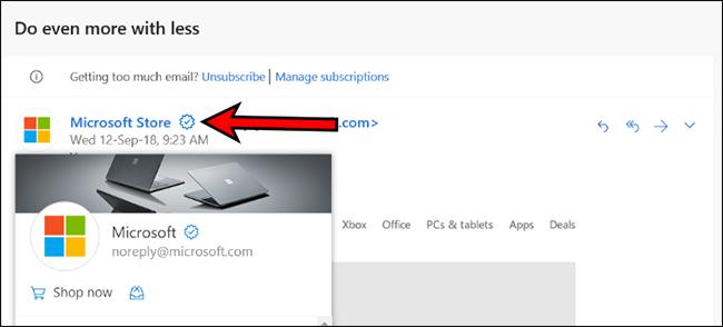 Outlook.com enpresentzako egiaztatutako ikonoa gehitzen ari da. Horrek lagunduko al du phishing-aren aurka? 1