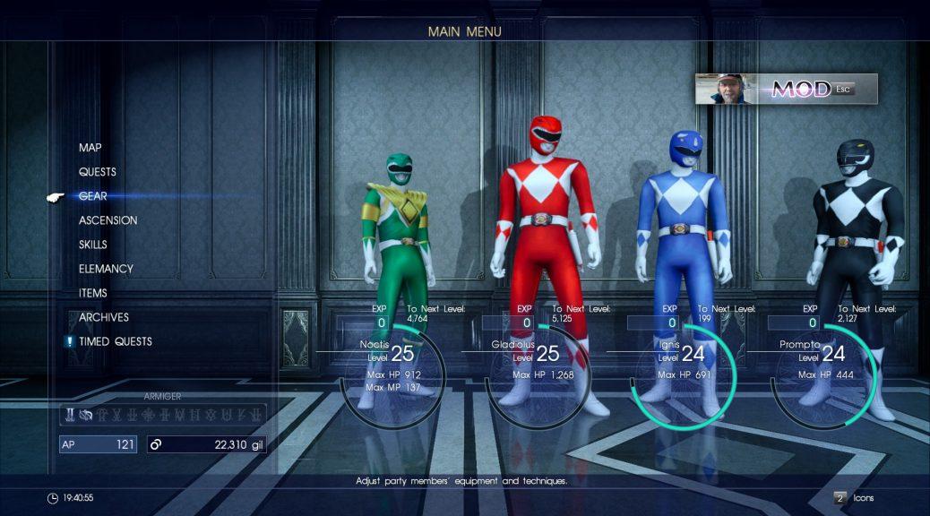 Power Rangers modua Final Fantasy XV-rako dago!