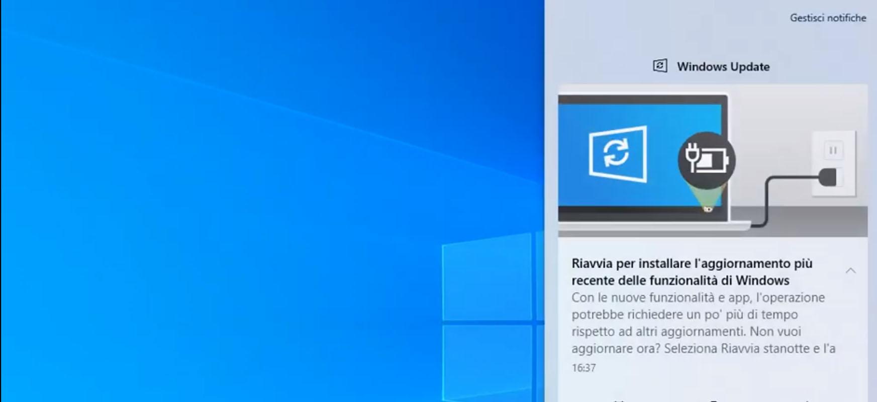 Windows eguneratzeen jakinarazpen argiagoa.  Ordenagailua noiz funtzionatuko duen erabakitzen duzu