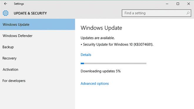 Windows  eguneratzearen