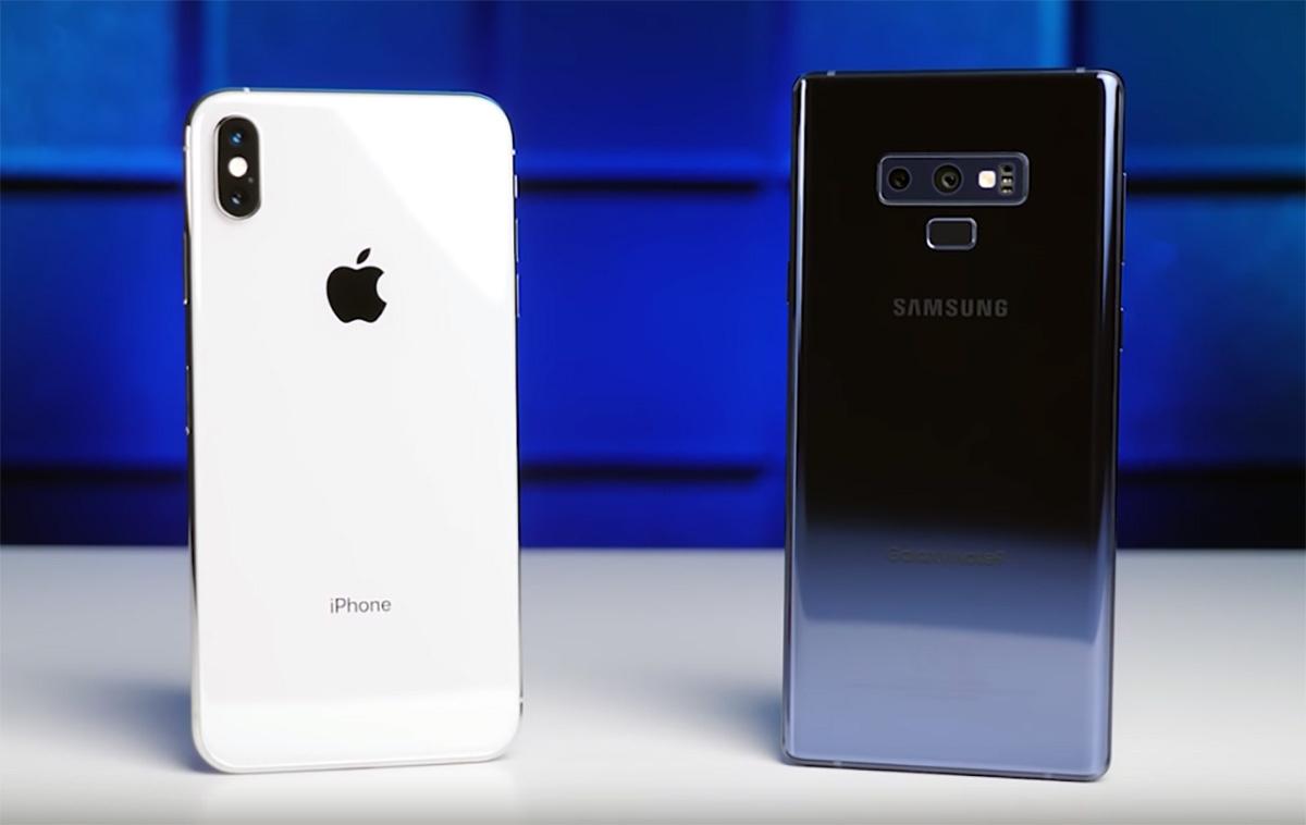 iPhone Xs Max eta Galaxy Ohar 9 kameraren konparazioa