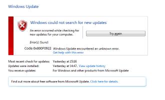 konponketa: Windows Eguneratu errore kodea: 0x800f0922